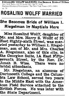 Rosalind Wolff marriage, NYT 27 Jan 1945