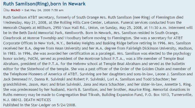 Ruth Ring Samilson obituary, 21 May 2008