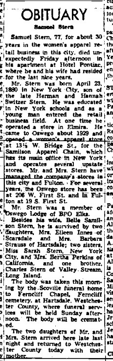 Samuel Stern, husband of Belle Samilson, obituary. Nov 1957