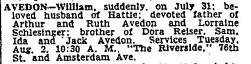 William Avedon, husband of Fannie Seligman's daughter, obituary. NYT 2 Aug 1949