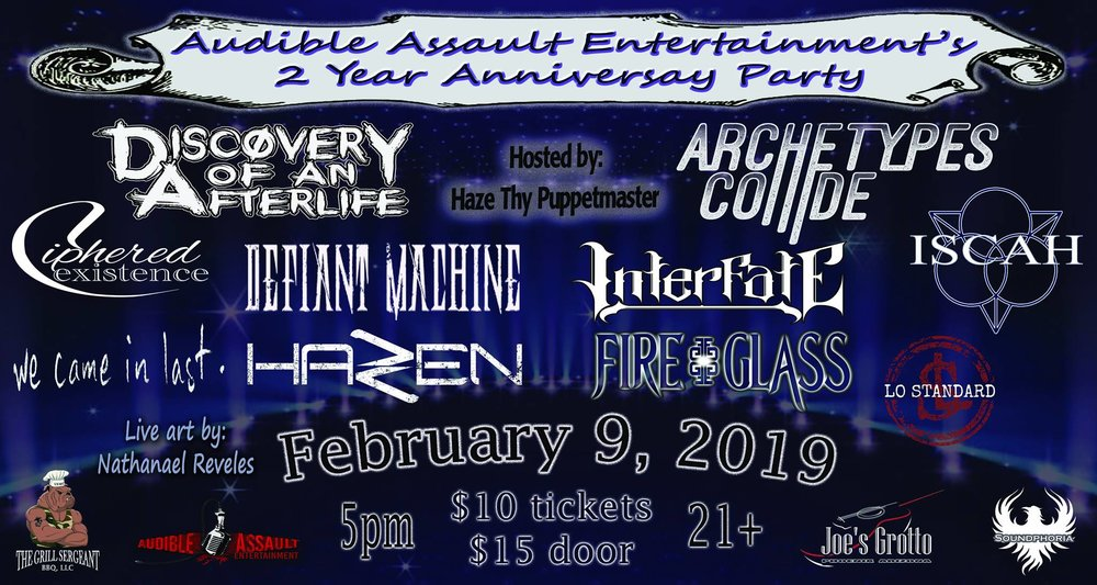 Audible Assault Entertainment's 2 Year Anniversary Party Flyer