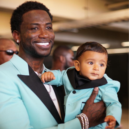 Gucci Mane and Asahd Khaled matching at the 2017 BET Awards. Asahd has been a new pillar of DJ Khaled's social presence. The world loves Asahd. Image courtesy of Essence.