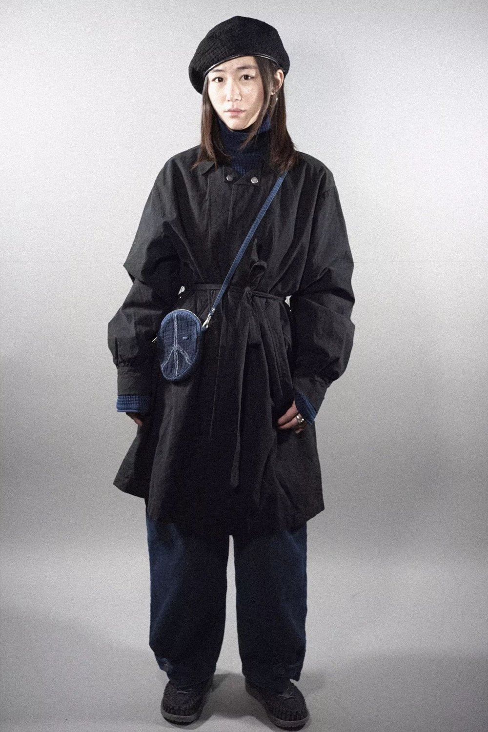 PC - LOCAL BLACK GATHERED COAT - BLACK PC - FRENCH THERMAL TURTLENECK - BLUE PC - CORDUROY PANTS - BLUE PC - KENDO SIMPLE POUCH -BLACK KEEN - UNEEK - BLACK