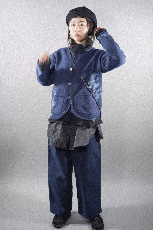 PC - HANDWORK ARTIST CARDIGAN - BLUE PC - DOT SHIRT JACKET - BLACK PC - CHINESE MOLESKIN PANTS - BLUE PC - KENDO SIMPLE POUCH - BLUE PC - SASHIKO BERET