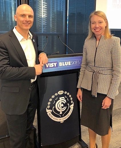 Dr Katie Spearritt (CEO, Diversity Partners) with Cain Liddle (CEO, Carlton Football Club) speaking on ways to support   Inclusive Leadership at the Visy Blue Skies Event, June 2018.