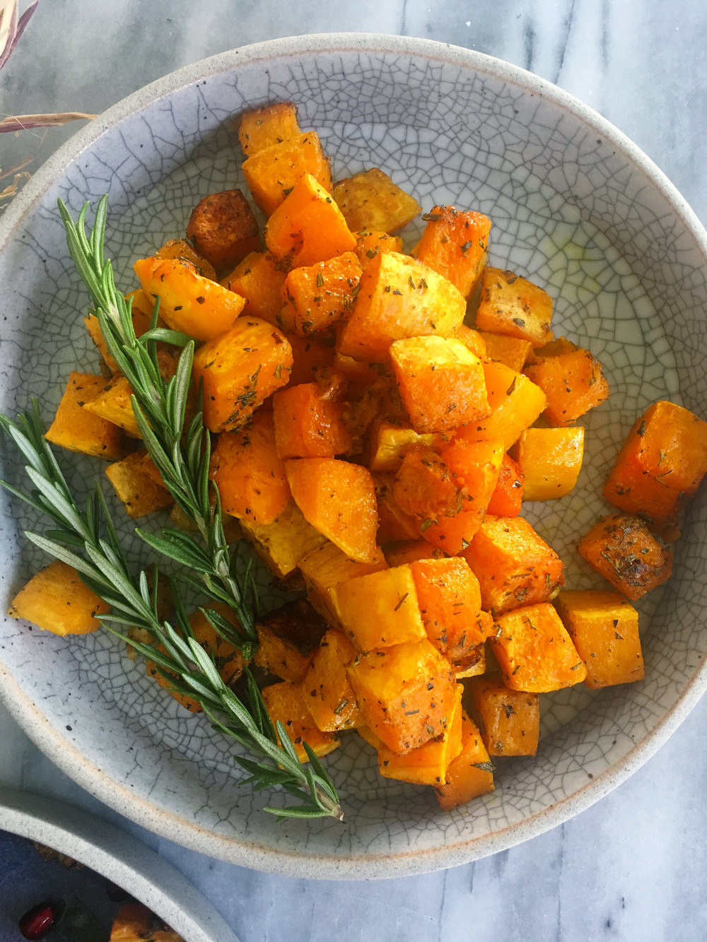 SAVORY: Roasted butternut squash baked with fresh rosemary, whole garlic cloves, and indian spice.