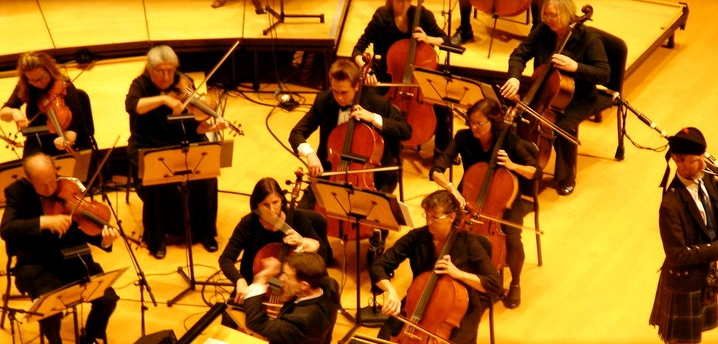Playing cello in Renee and Henry Segerstrom Hall with the Orange County Mormon Choral Organization.