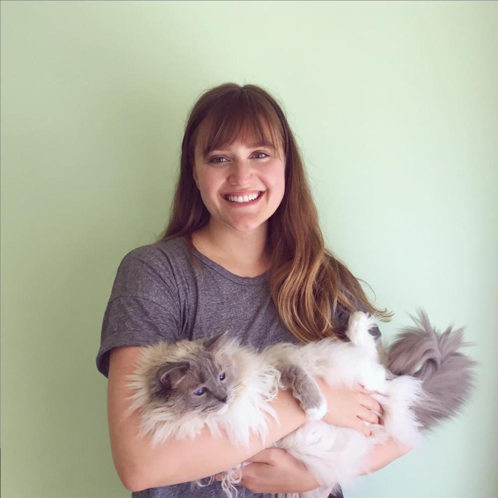 Lizzie with her cat, Frankie