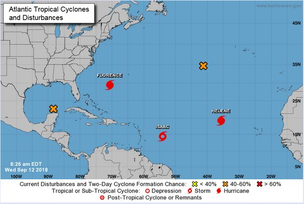 There are several named storms that are being tracked, plus two more areas where development of another tropical system is likely. Source:  http://www.nhc.noaa.gov  (National Hurricane Center)