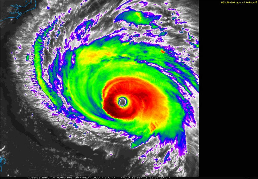Hurricane Florence has a well-defined eye, with a very tall, cool-topped eye wall. The strongest winds and heaviest rains will be found in the eye wall. Source:  https://weather.cod.edu/  (College of DuPage – Next Generation Weather Lab)