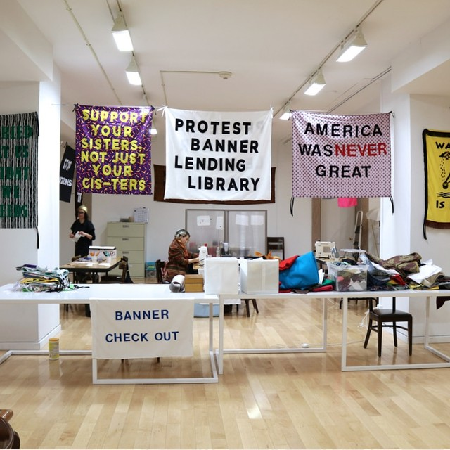 That living Wonder Woman @talfitzpatrick is running free workshops to make protest banners. If you want to join me (& Veronica) for the 27th April one, gizza hoy. (@lampertjo @micheletheframer @stellaglorie @jplanet_melbs @knittingnannast @leishfly @moss.girl @themelanatedmelanesian et al?) Or book through Kingston Arts. Tal's working towards a protest banner lending library, inspired by Chicago's @aramhansifuentes . Both Tal & Aram are superheroes, and I'm writing a feature about this project — please be part of it if you can.#craftivism