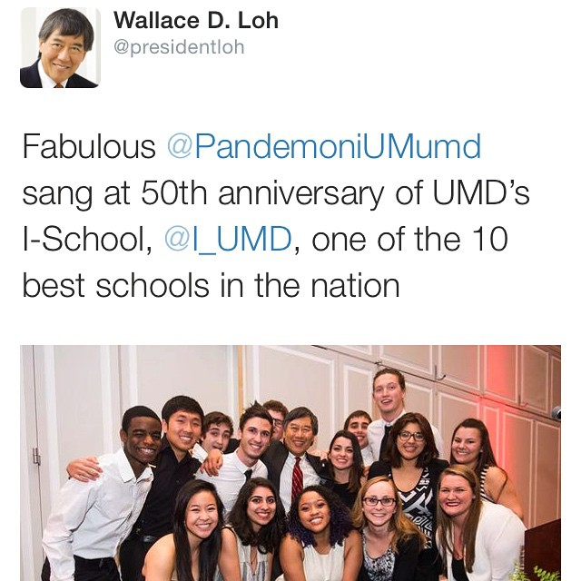 Have you seen President Loh's Twitter today?? Well we're on it!! Go check it out! We sang for Marylands iSchool and it was an amazing time!  #presidentLoh #umd #umd15 #umd16 #umd17 #umd18 #umdacappella #acappella #sing #singers #coedacappella #toomanyhashtags #never