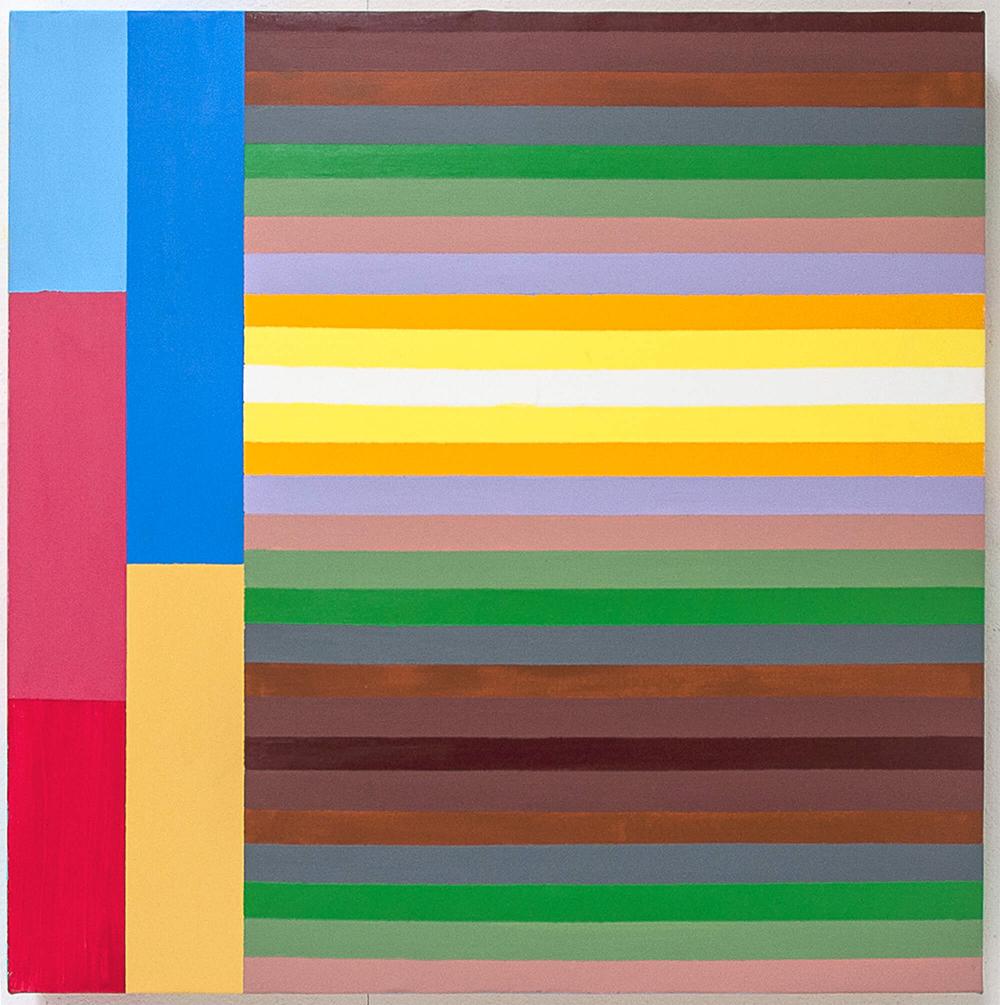 Striber på tværs, 50 x 50 cm. 2008