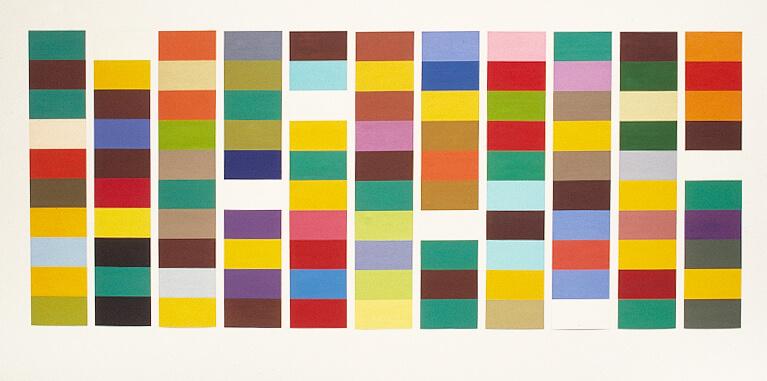 Campo Nica, 11 panels 122 x 22, total 122 x 350 cm. oil tempera on aluminium, 2002