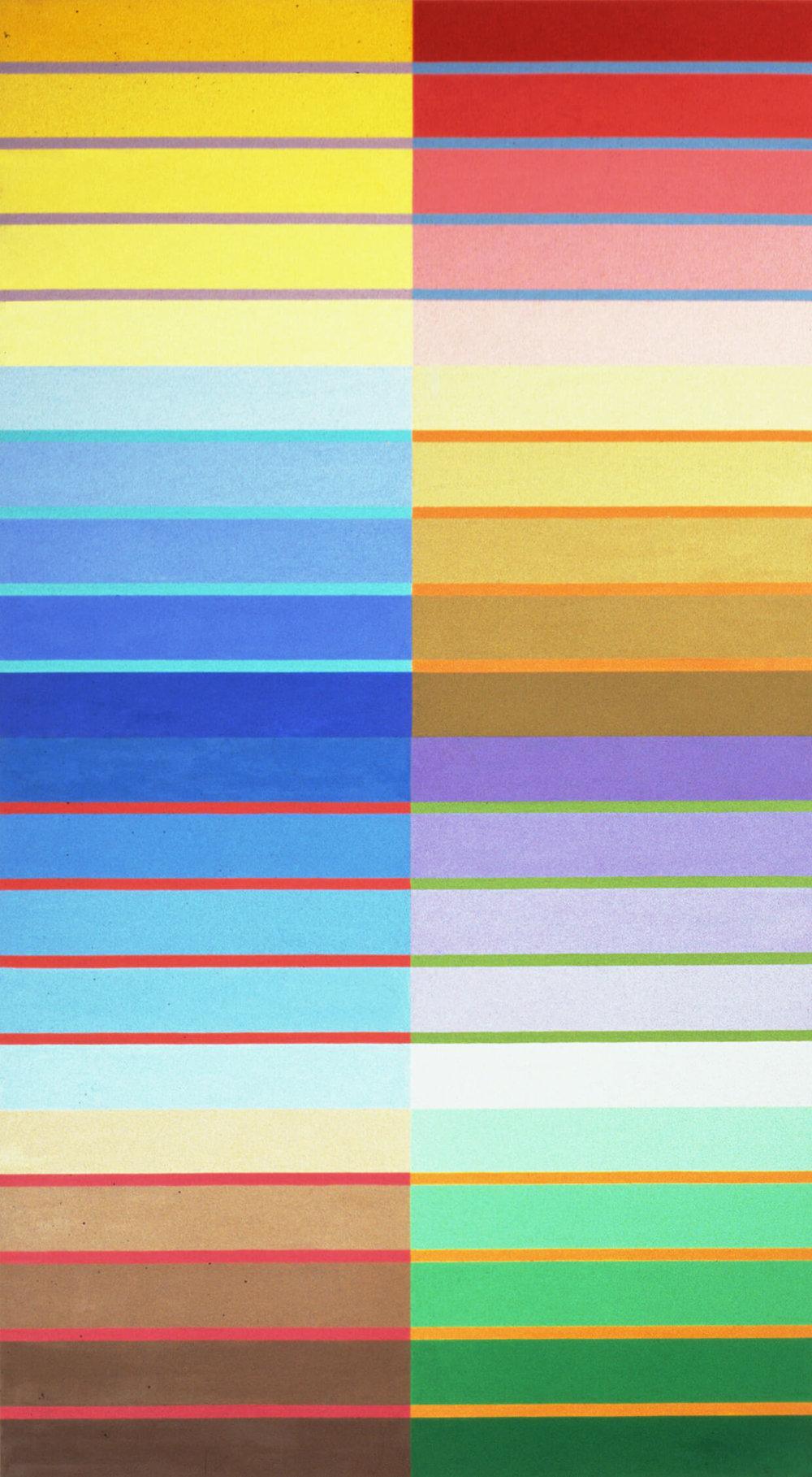 No title. Oil tempera on aluminum sheets, 234 x 132 cm, 2002