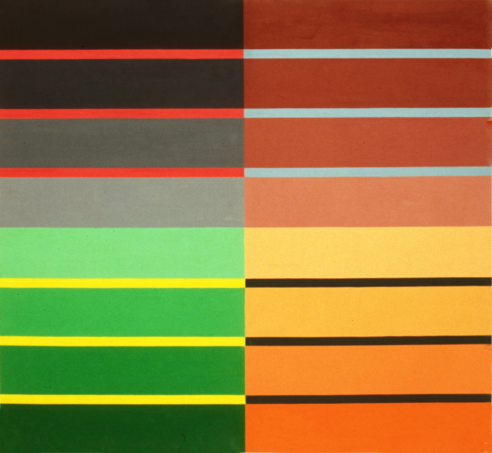 Campo Bello, 122 x 132 cm. Oil tempera on aluminum sheet, 2002