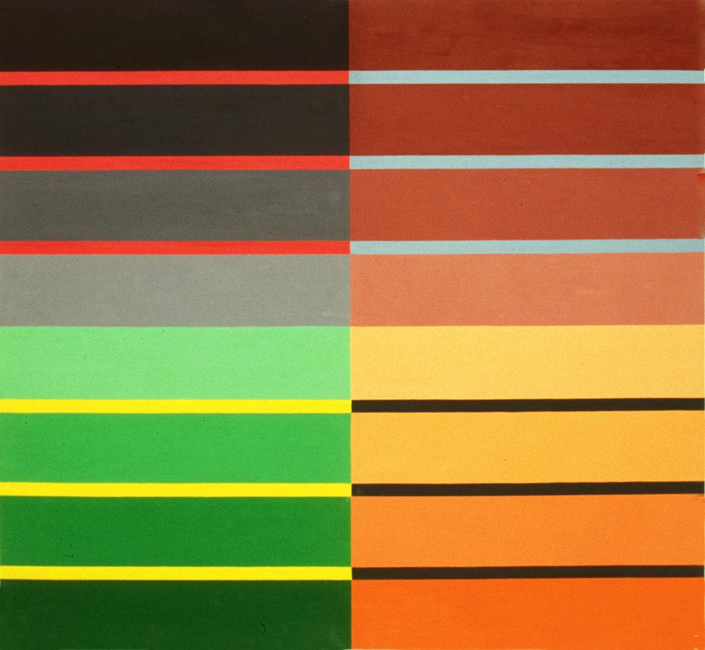 Campo Bello, 122 x 132 cm. Oil tempera on aluminum sheet, 2002