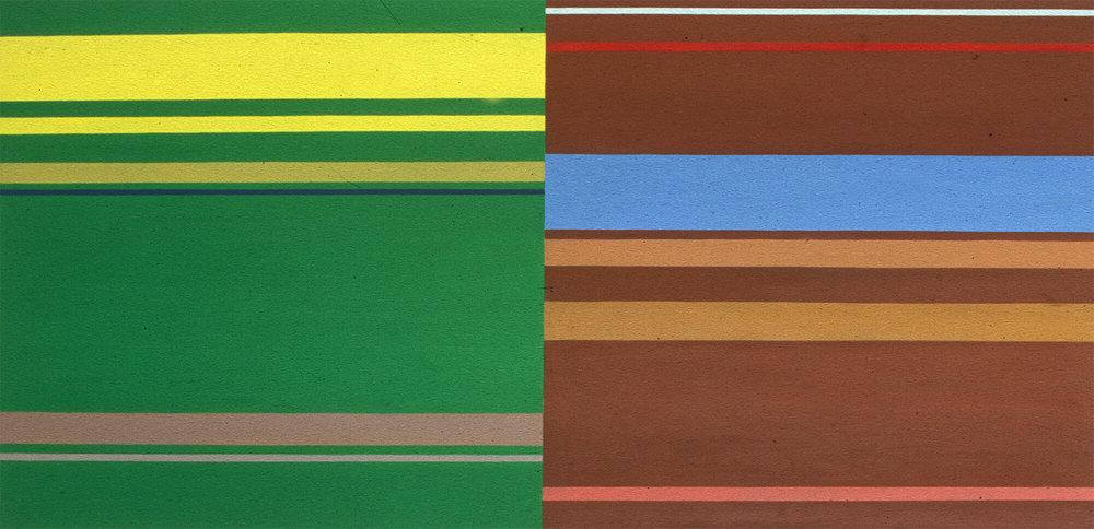 No title. Oil tempera on aluminum sheet, 62 x 118 cm, 2001