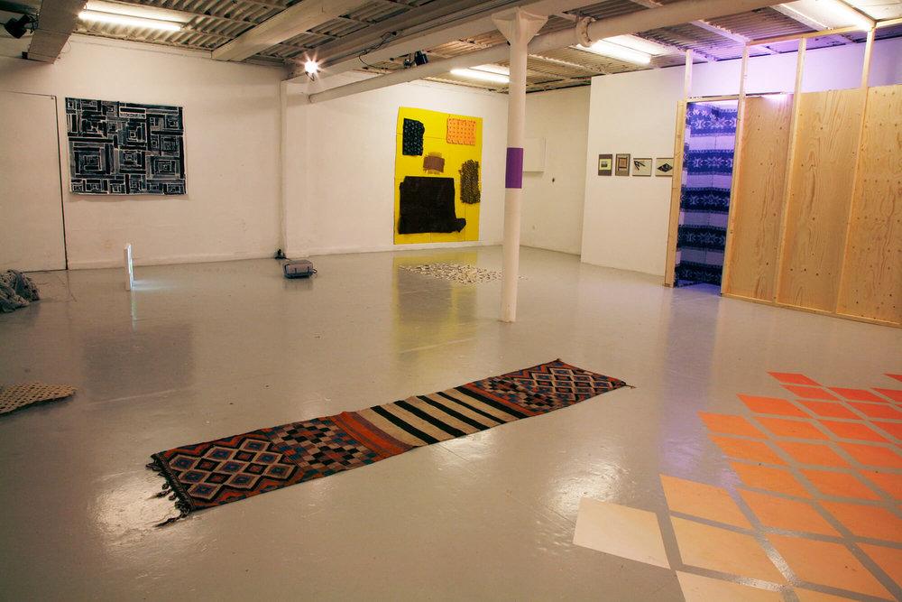 Photo of installation. Works by Camilla Nørgård, Anja Franke and Ida F. Ferdinand