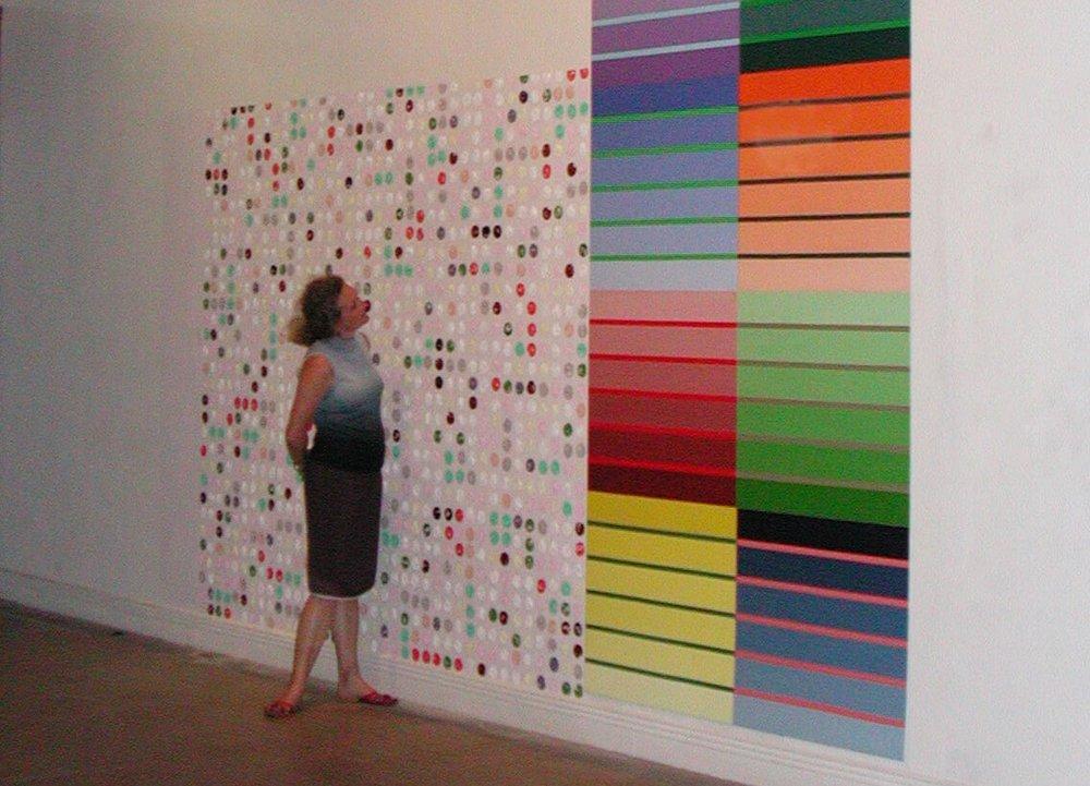 Mi punto de vista, mural 220 x 300 cm and on 7 plates af aluminum, 490 x 150 cm, 2003