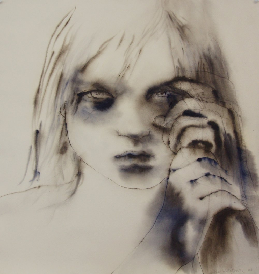 'Exile'    70x 72 cm  Ink and watercolour on paper   Private collection