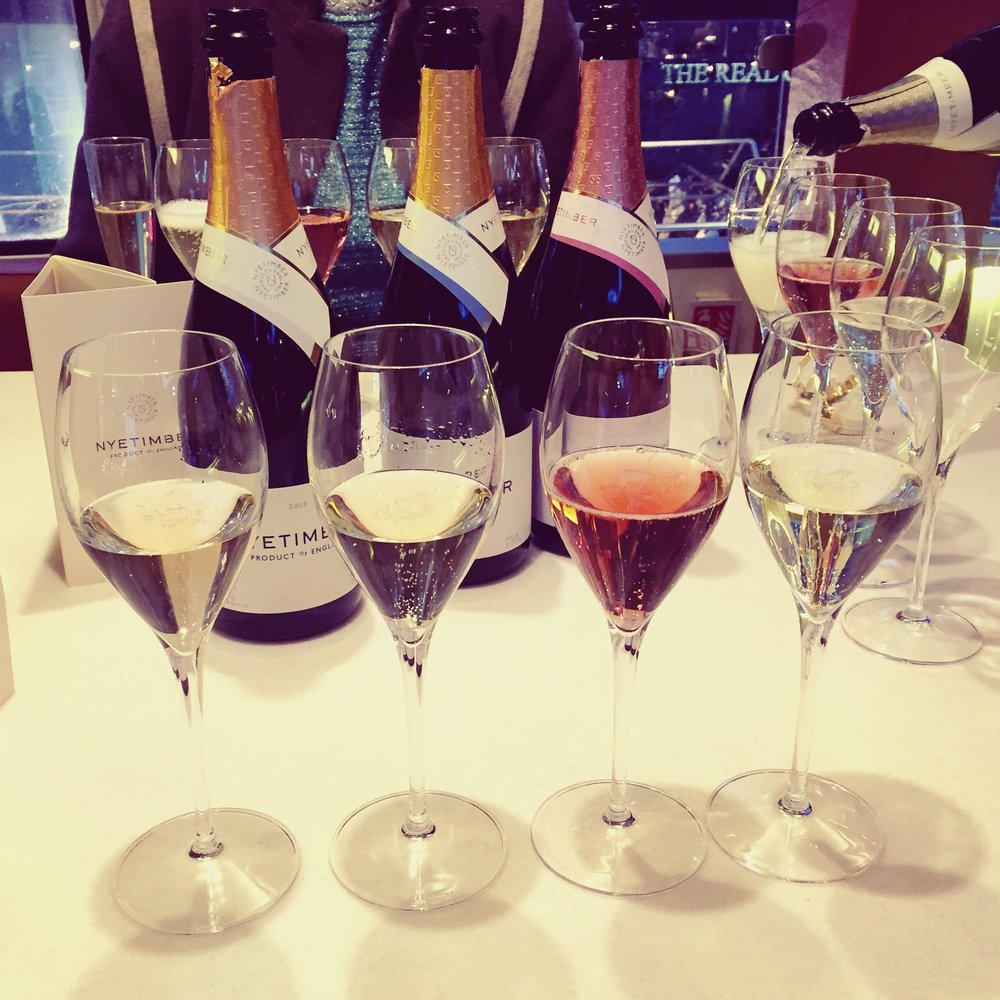 Nyetimber Masterclass  From left to right; Classic Cuvée NV, Blanc de Blanc 2009, Rosé and Demi Sec.