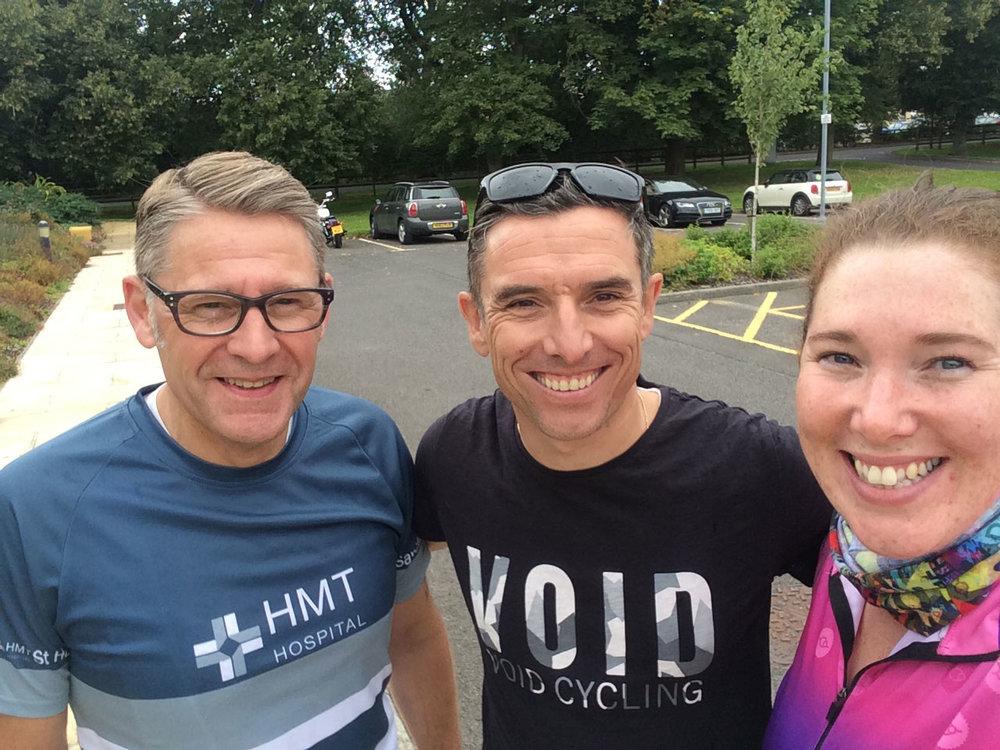 L-R: Gary Allington, HMT St Hugh's Hospital, Grimsby; Dean Downing ex-pro cyclist and Kerri.