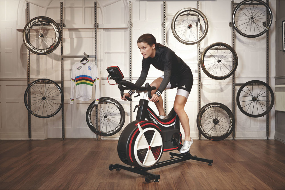 Professional road racing cyclist Lizzie Deignan training on a Wattbike.