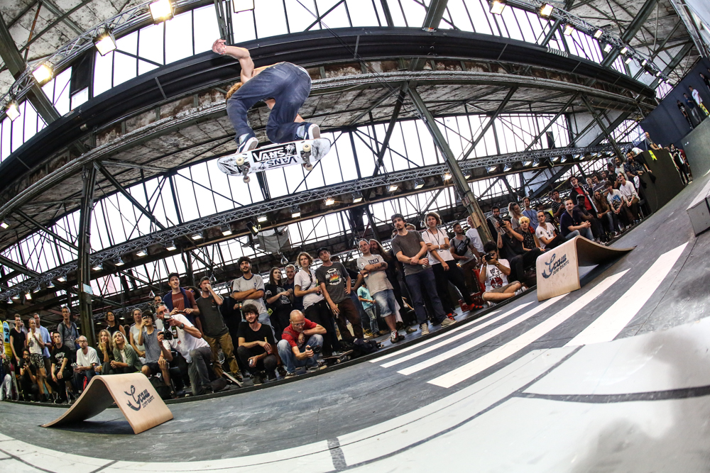 "Graw Jump Ramps at Bright 2016 in Berlin. Image from the ""Longest Ollie Competition"" won by Victor Pellegrin with a 4,5 meters oliie."
