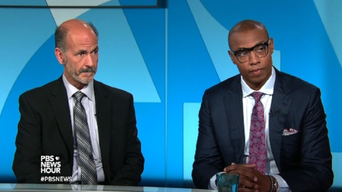 "Caron Butler appears on PBS NEwshour to DISCUSS his childhood encounter with detective rick geller (left), which he discusses in his memoir ""Tuff Juice""."