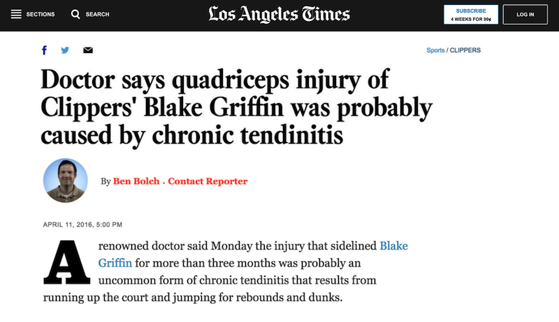 Dr. T.O. Souryal Talks to the LA Times about Blake Griffin's InJURY in the 2015-2016 NBA Season.