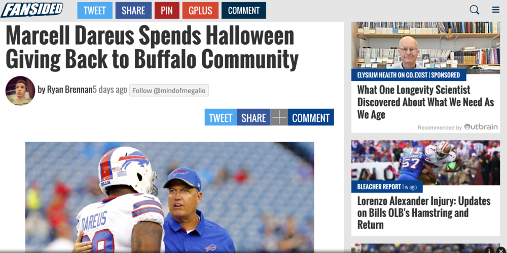 fansided writes about marcell dareus' visit to local buffalo boys and girls clubs on halloween day.