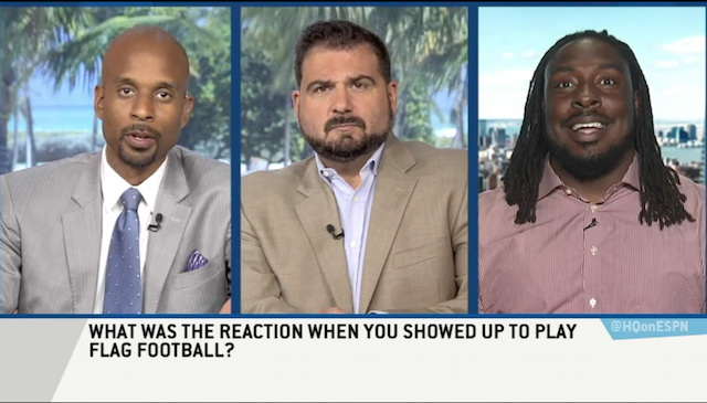 ricky jean francois is on espn's highly questionable remotely from new york city during a media tour swanson communications set up.