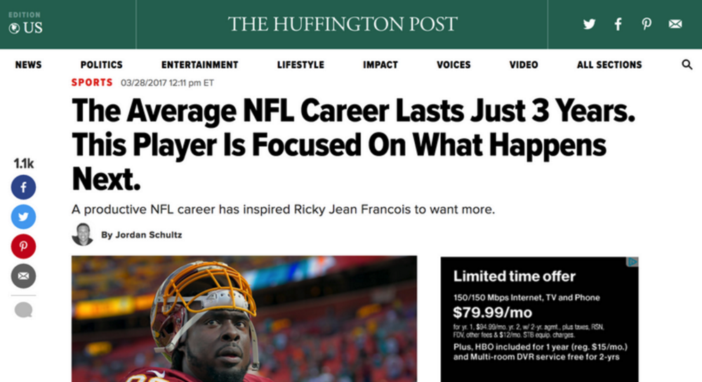 Ricky jean francois discussed his plans for life after the nfl with huffington post in 2017.