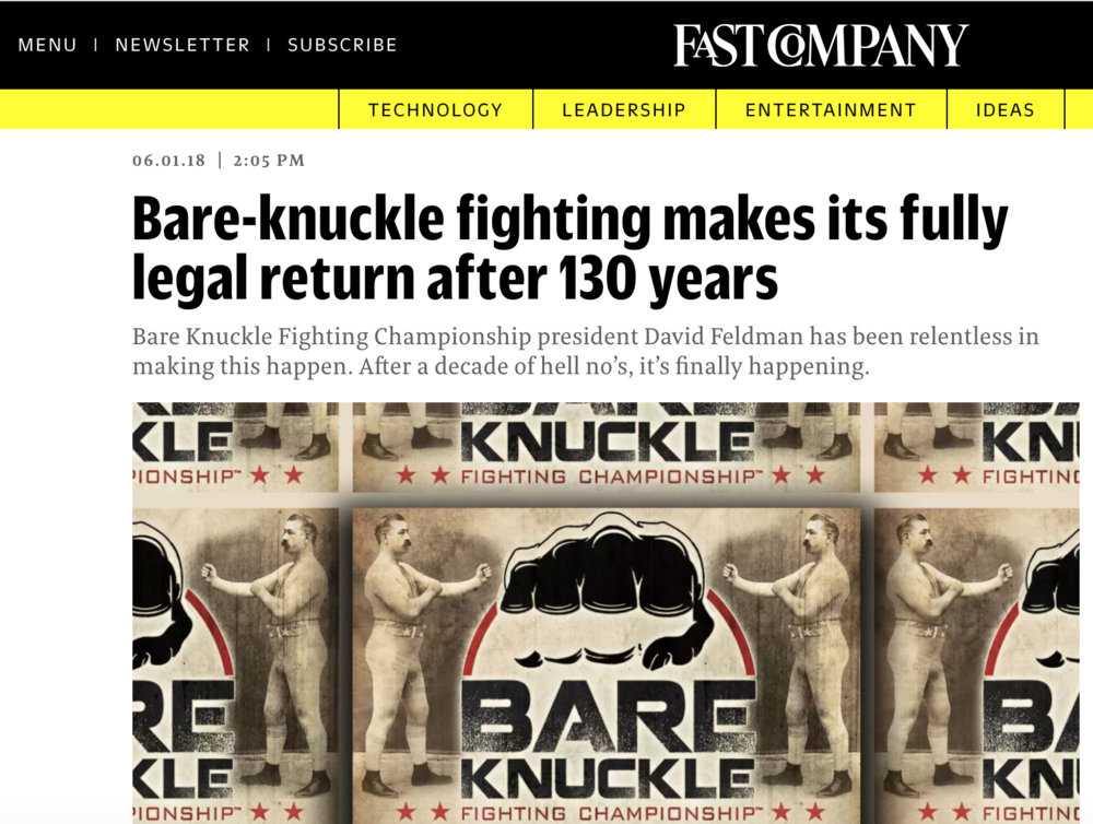 Fast company discusses bare knuckle fighting championship and the sport's incredible return after being outlawed in america over 100 years ago.