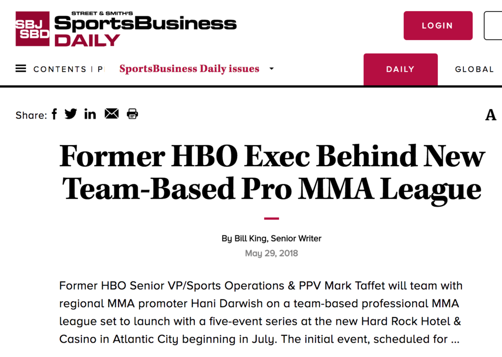 mark taffet's new pro mma league getting coverage in the sports business journal