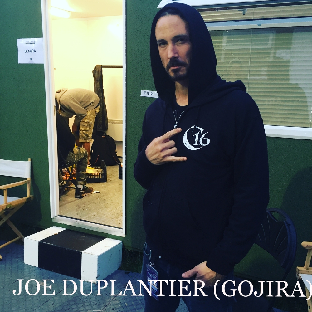 Joe Duplantier (Gojira)  Wearing the C16 logo zip hooded jacket