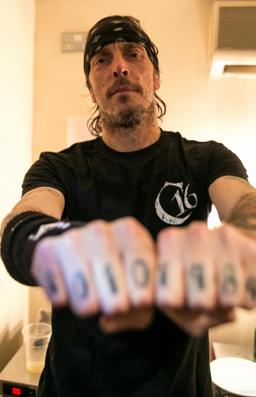 Derek Tailer (Overkill)  Wearing the Men's C16 logo shirt