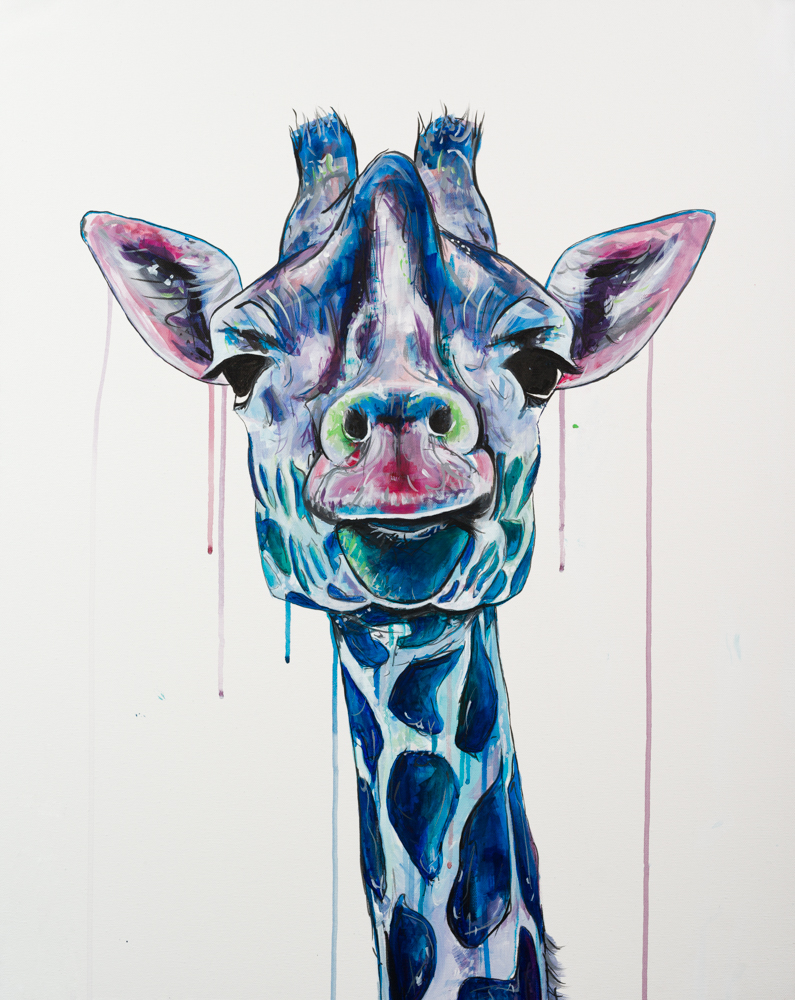 "'GIRAFFE SWAG' Acrylic on Canvas / 24""x 30"" SOLD"