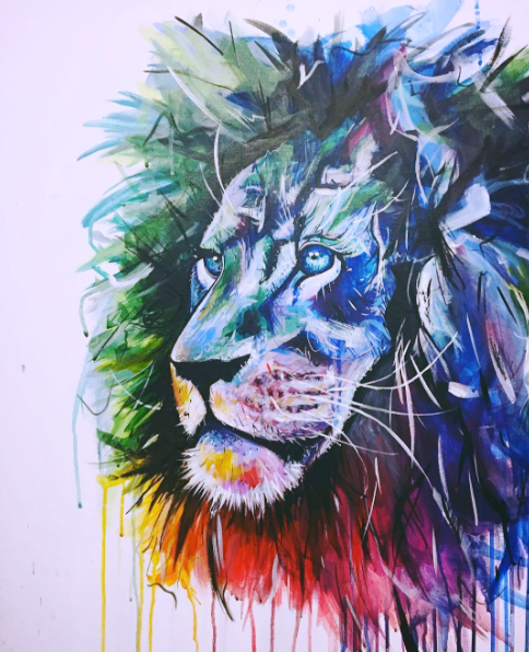 "'LIONABOUT'   Acrylic on Canvas / 24""x 30""   SOLD"