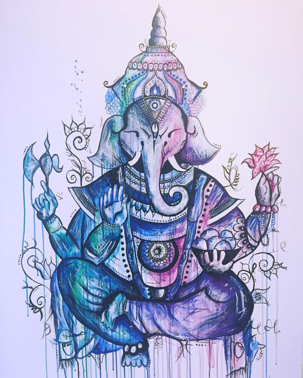 "'NYC GANESH'   Acrylic on Canvas / 36""x 48""   SOLD"