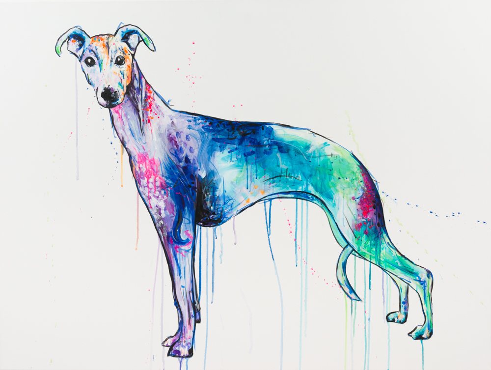 "'WHIPPET' Acrylic on Canvas / 36"" x 48"" SOLD"