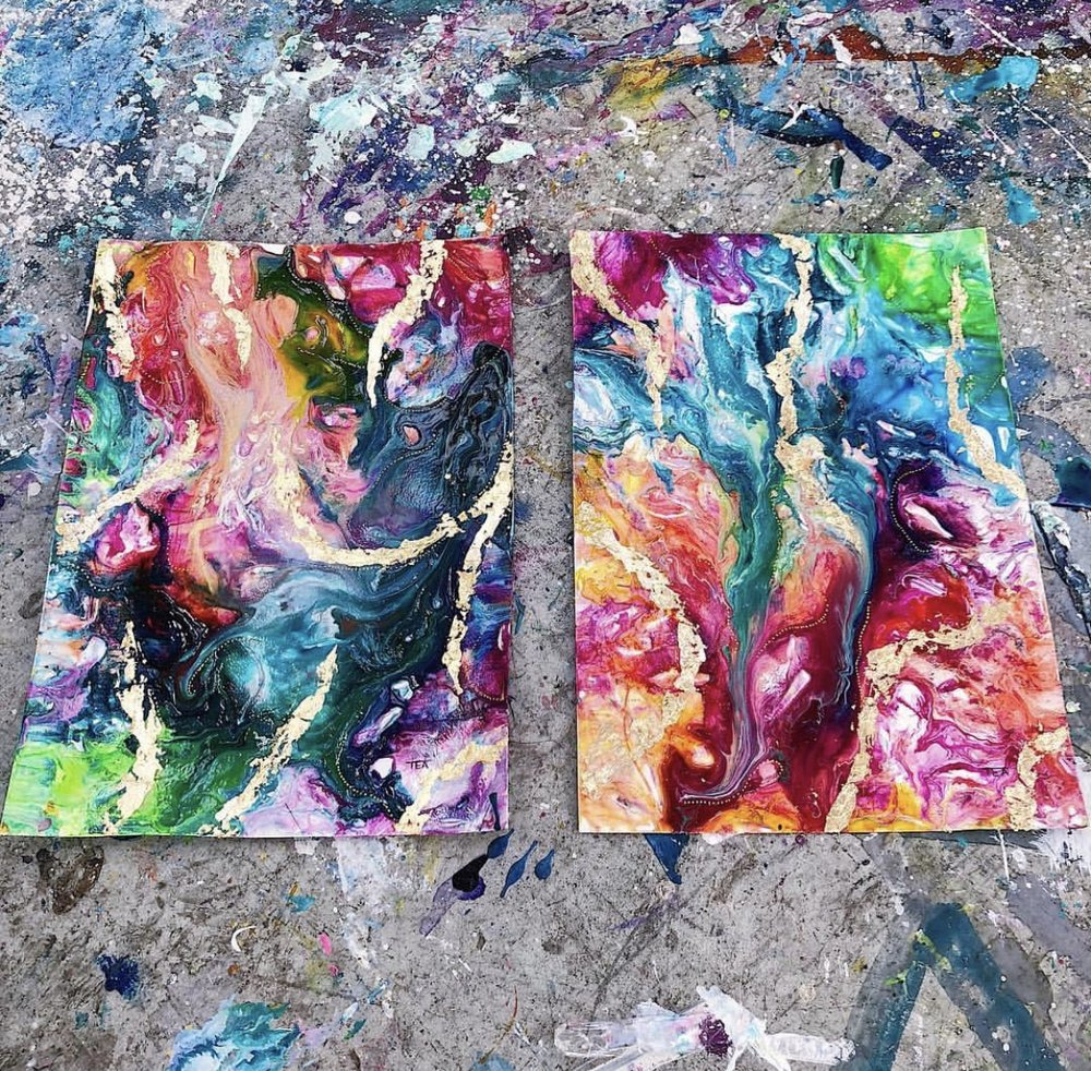Double Rainbow Abstracts with Gold Leaf Embellishment
