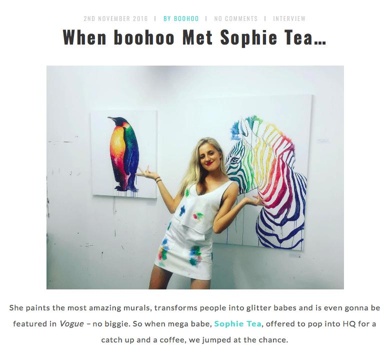 Boohoo     When Boohoo Met Sophie Tea   November 2016