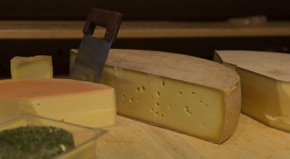 Mehrere angeschnittene Käselaibe unterschiedlicher Reifestufen.