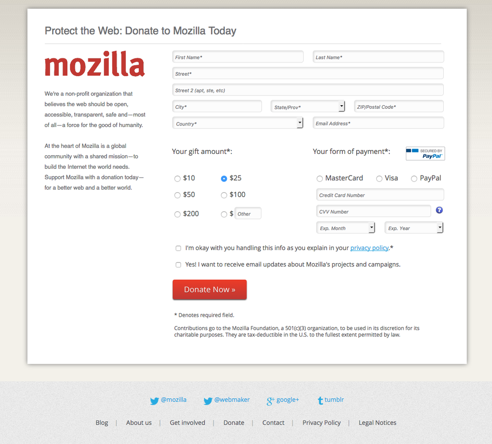 Mozilla Foundation Donate Page (before):  Aki Braun