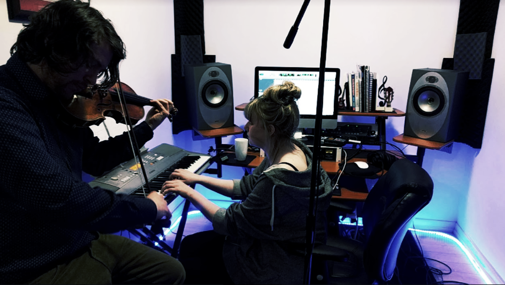 Writing at Afterglow Audio w/ violinist Leslie Townsend (London, UK).