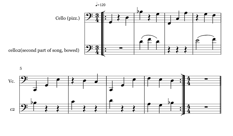 My first attempt at writing sheet music for a musician (which was difficult for me, being musically illiterate): here's a piece of the cello passage which you'll hear in the last verses.