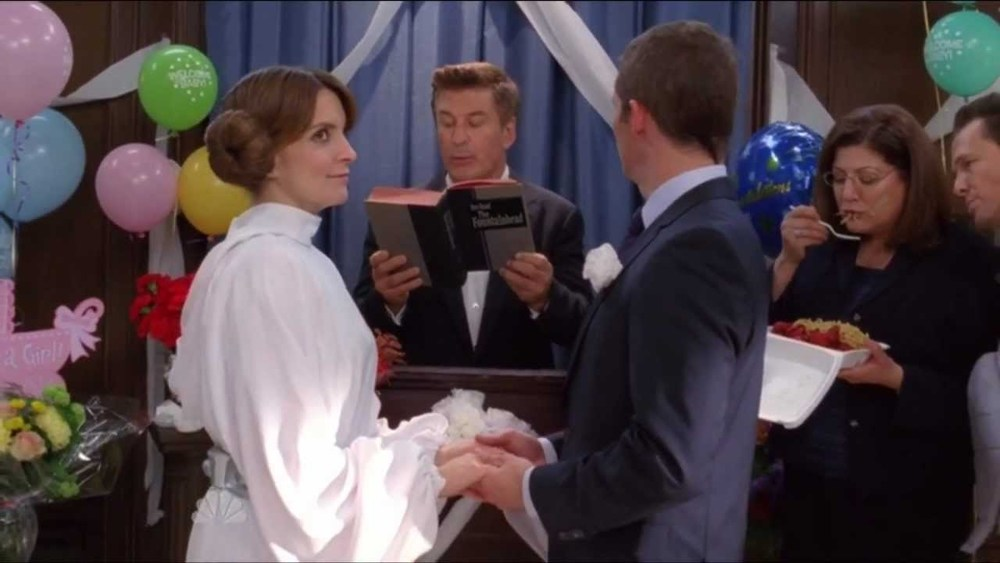 I couldn't find screencaps from the episode where Liz Lemon is in three weddings in the same day, so have this picture of Liz Lemon's wedding instead.