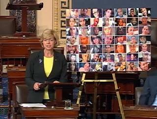 Senator Tammy Baldwin (D-WI) during the filibuster
